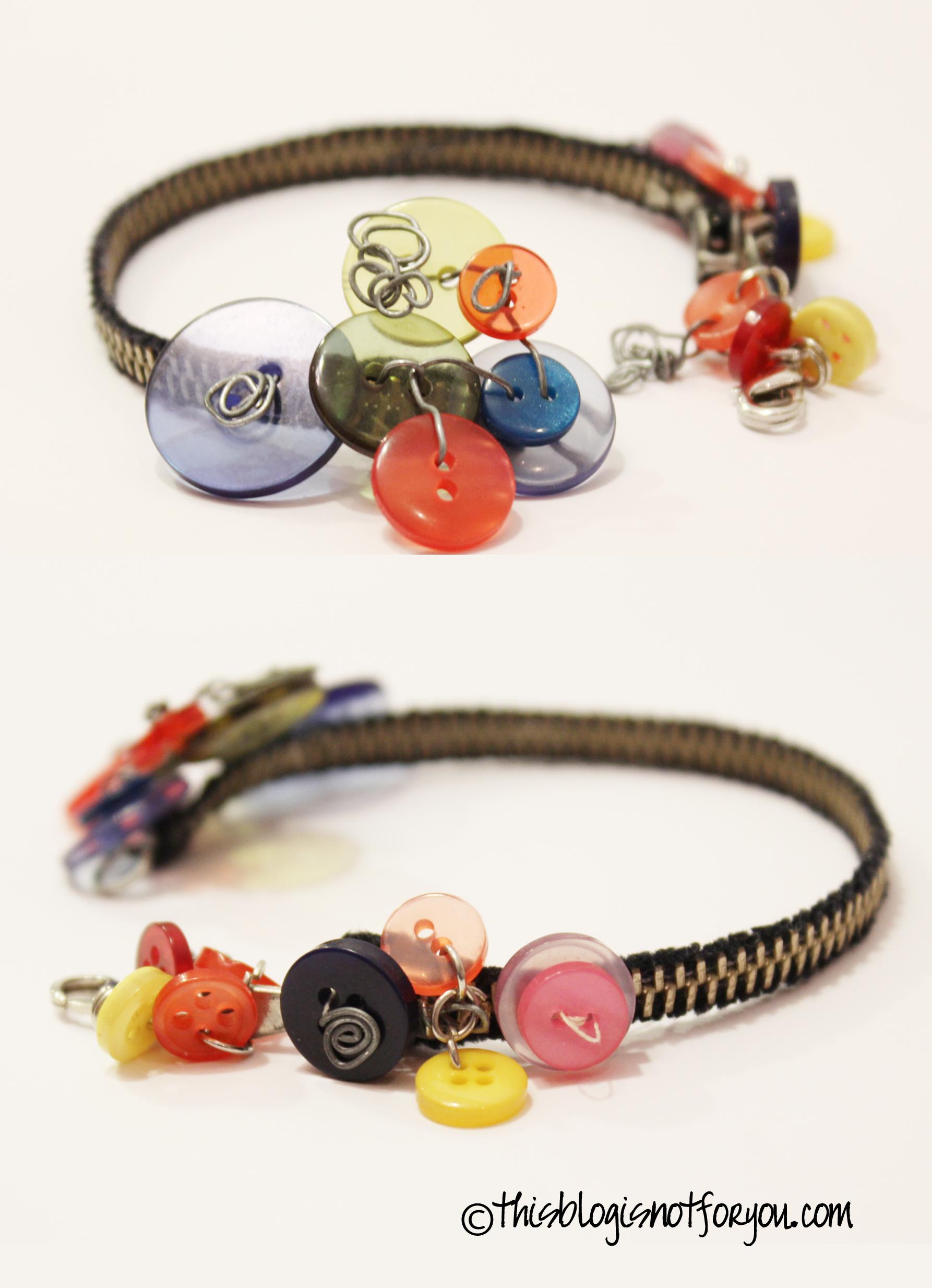 Zipper and Buttons Bracelet