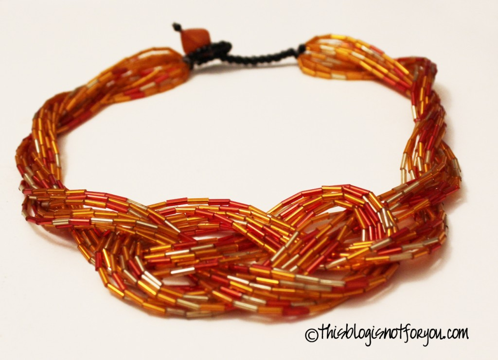 knotted tube bead necklace