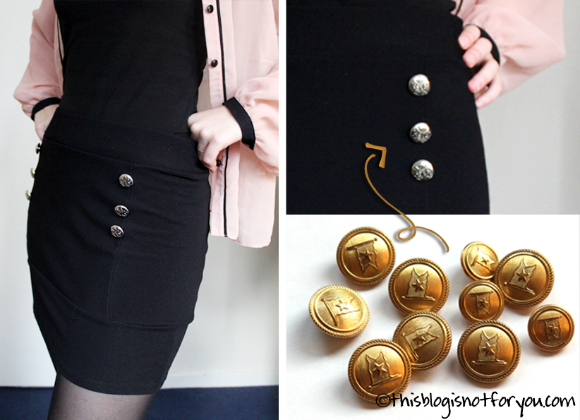 adding buttons to simple clothes by thisblogisnotforyou.com