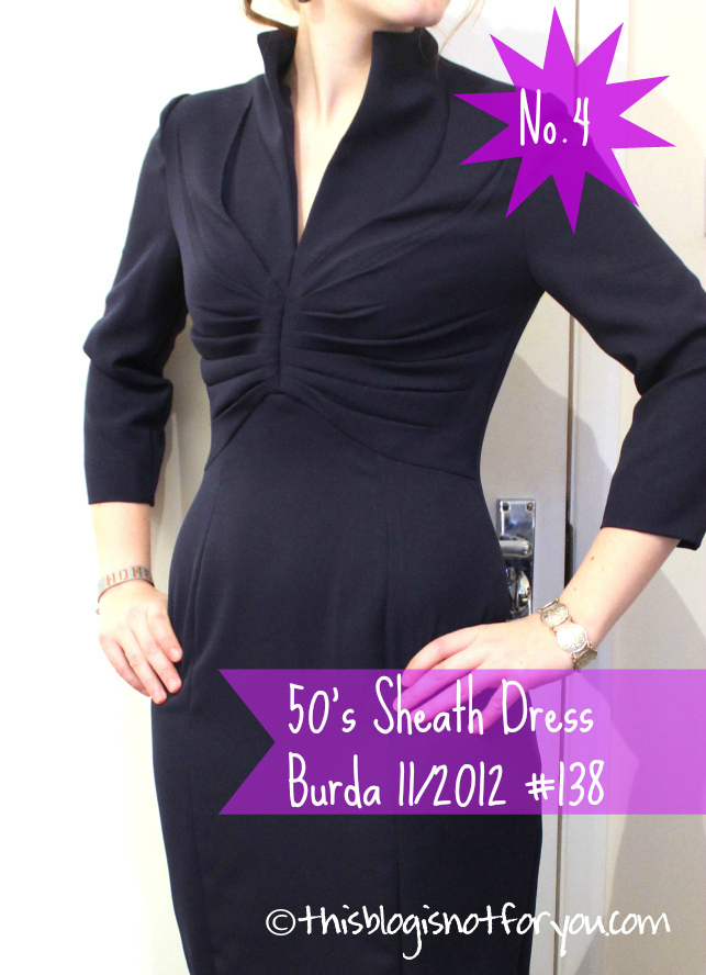 Audrey Hepburn sheath dress by thisblogisnotforyou.com, Burda pattern 11/2012 #138