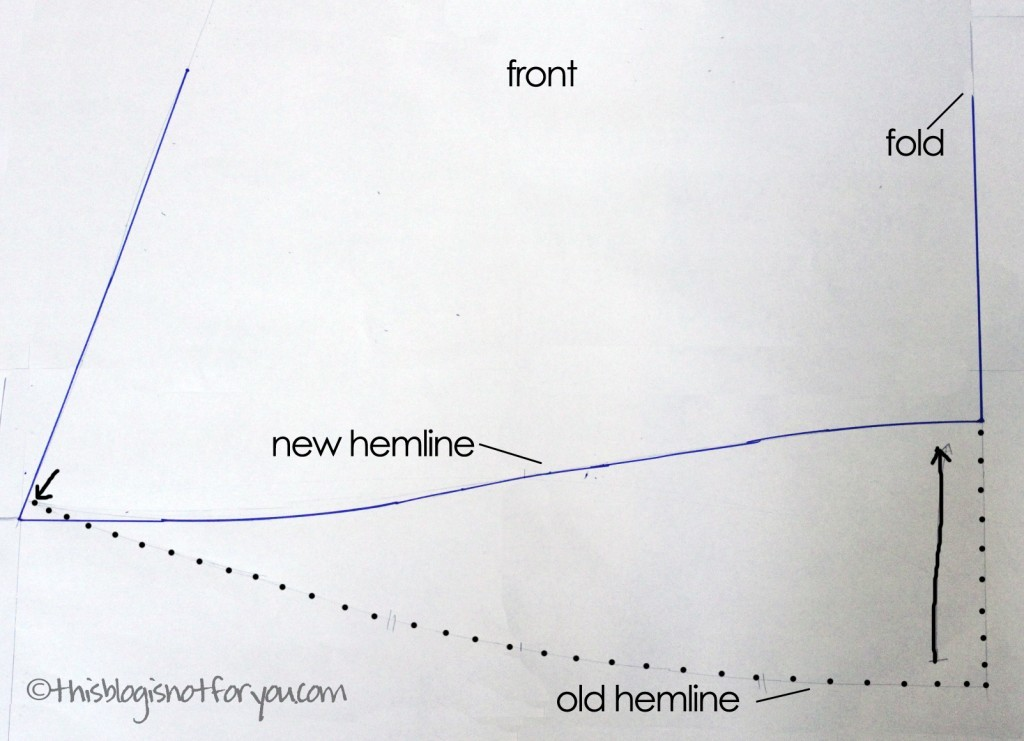 How to draft your own asymmetrical hem dress pattern by thisblogisnotforyou.com