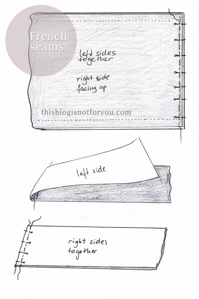 french seams tutorial for pleated skirt by thisblogisnotforyou.com