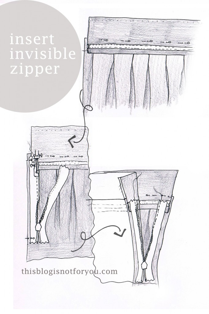 invisible zipper tutorial for pleated skirt by thisblogisnotforyou.com