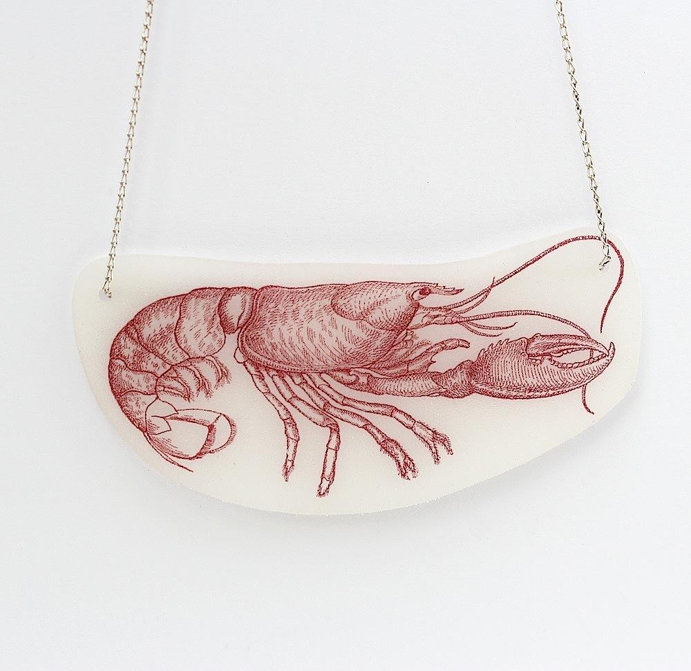 shrinky dink lobster necklace