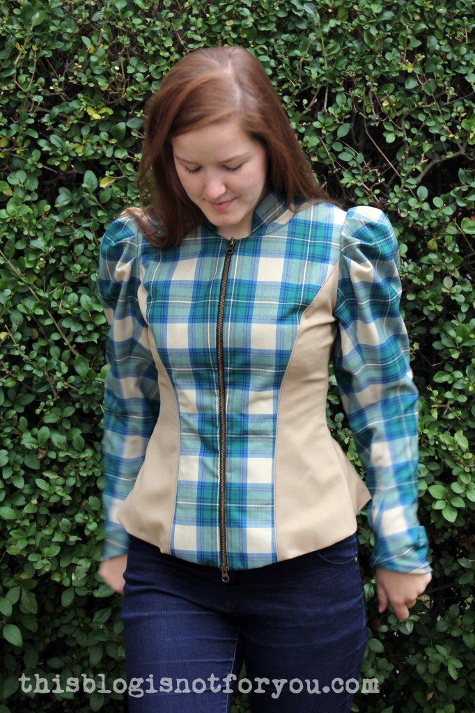 Puff sleeve plaid jacket by thisblogisnotforyou.com