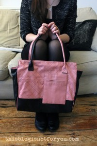 Leather Coat Refashioned into Leather Bag by thisblogisnotforyou.com