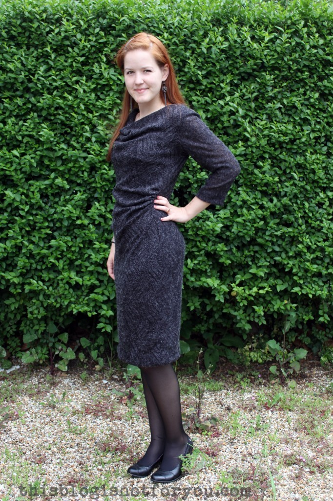 Cowl Neck Wool Dress by thisblogisnotforyou.com