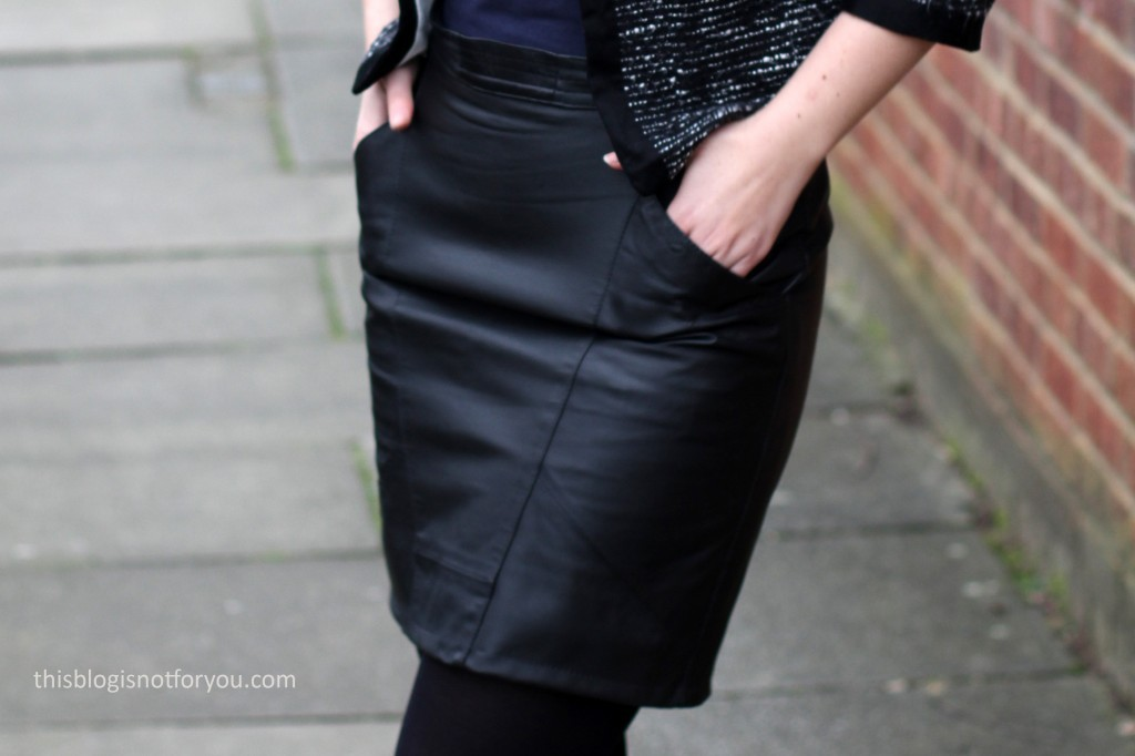 Mini Leather Skirt Refashion by thisblogisnotforyou.com