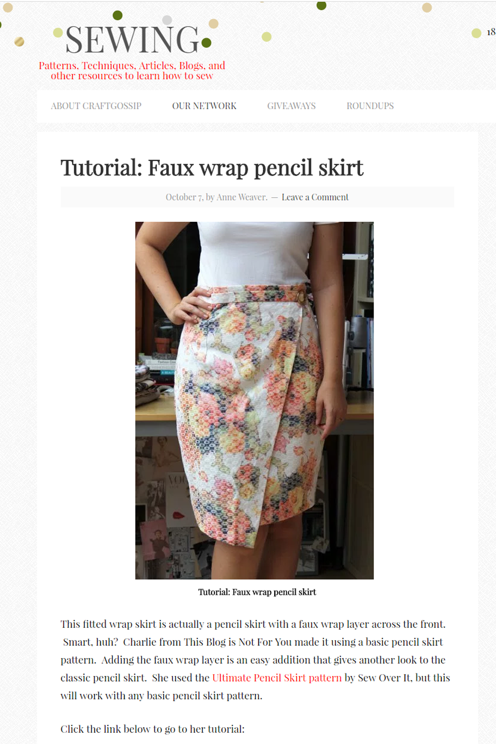 Sewing website feature